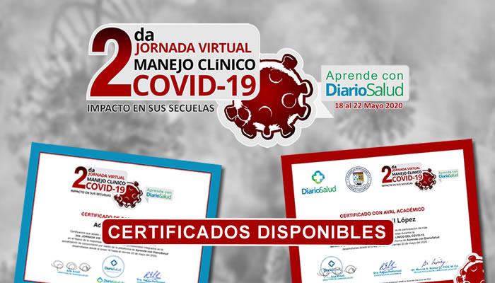 Ya están disponibles los certificados de la 2da Jornada Virtual Manejo Clínico Especializado del COVID-19