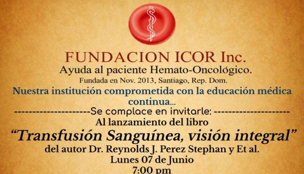 Invitan a lanzamiento de libro sobre transfusión sanguínea